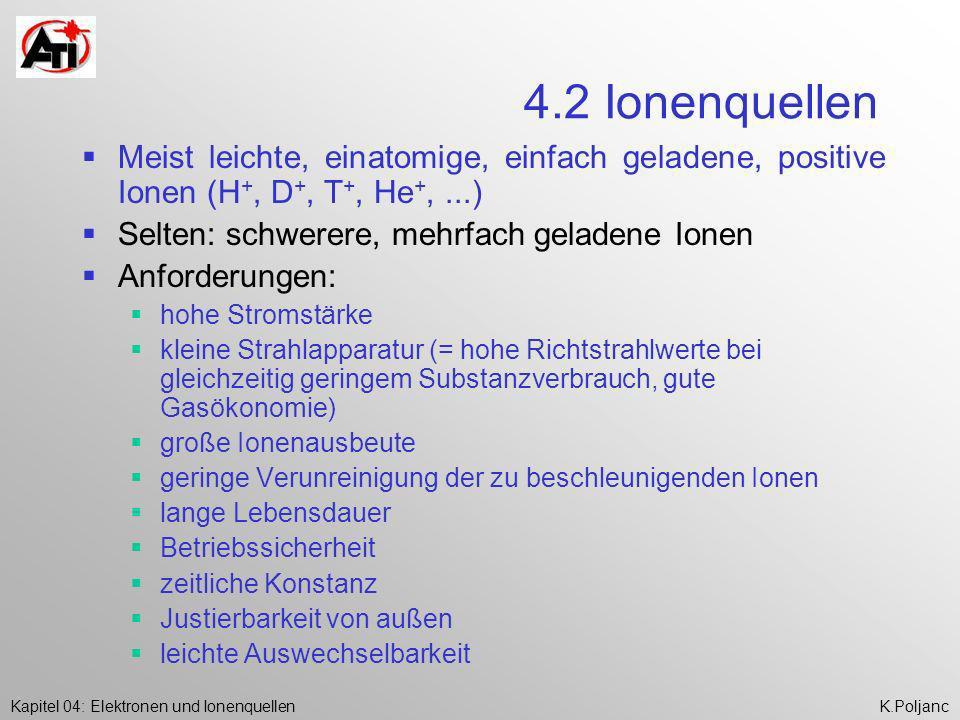 4.2 Ionenquellen Meist leichte, einatomige, einfach geladene, positive Ionen (H+, D+, T+, He+, ...)