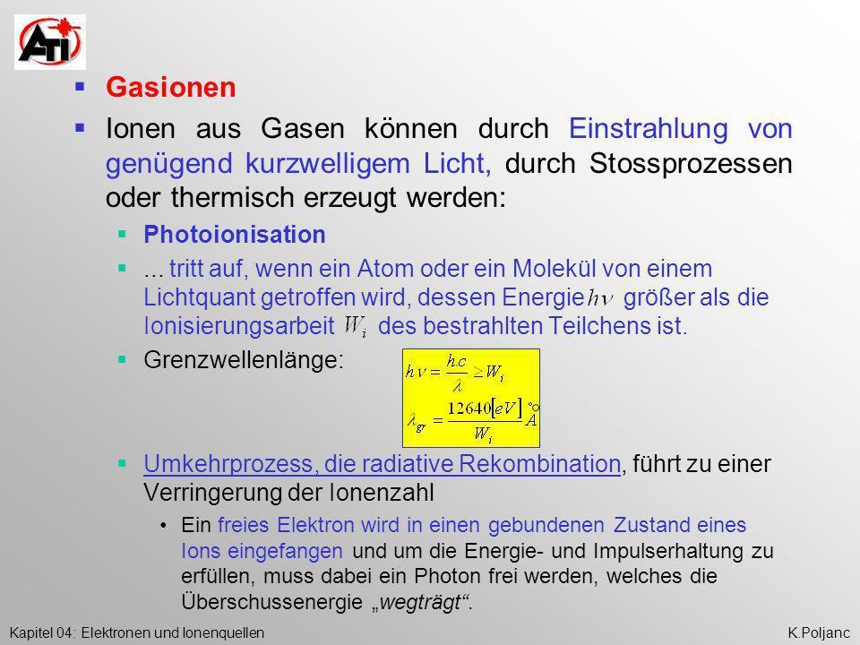 Gasionen Ionen aus Gasen können durch Einstrahlung von genügend kurzwelligem Licht, durch Stossprozessen oder thermisch erzeugt werden: