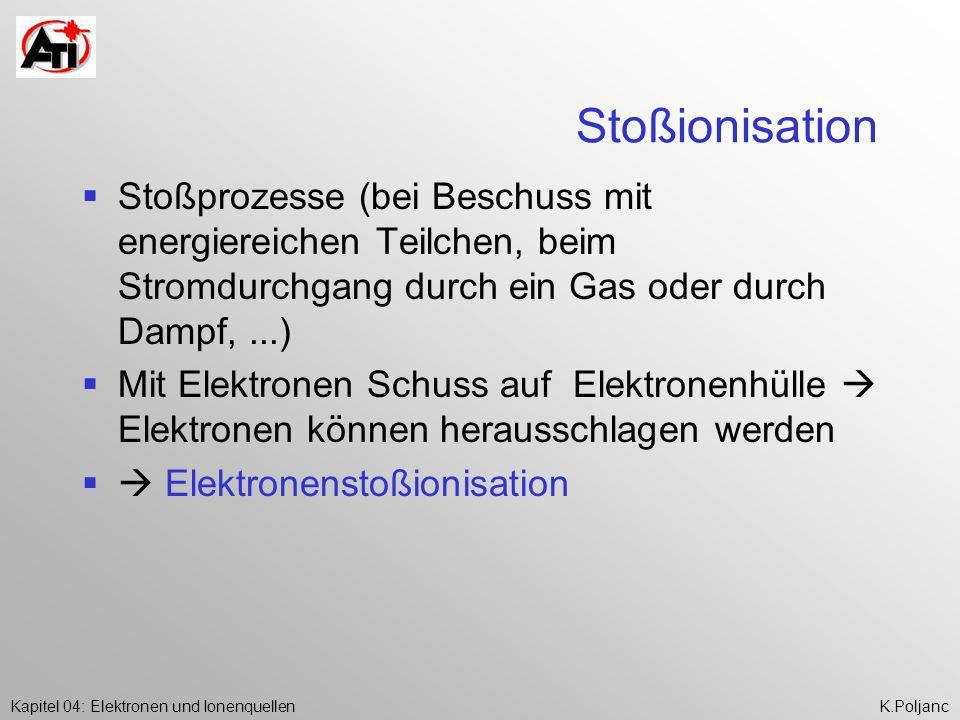 Stoßionisation Stoßprozesse (bei Beschuss mit energiereichen Teilchen, beim Stromdurchgang durch ein Gas oder durch Dampf, ...)