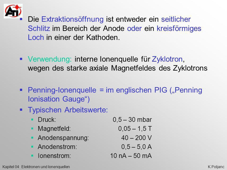 """Penning-Ionenquelle = im englischen PIG (""""Penning Ionisation Gauge )"""