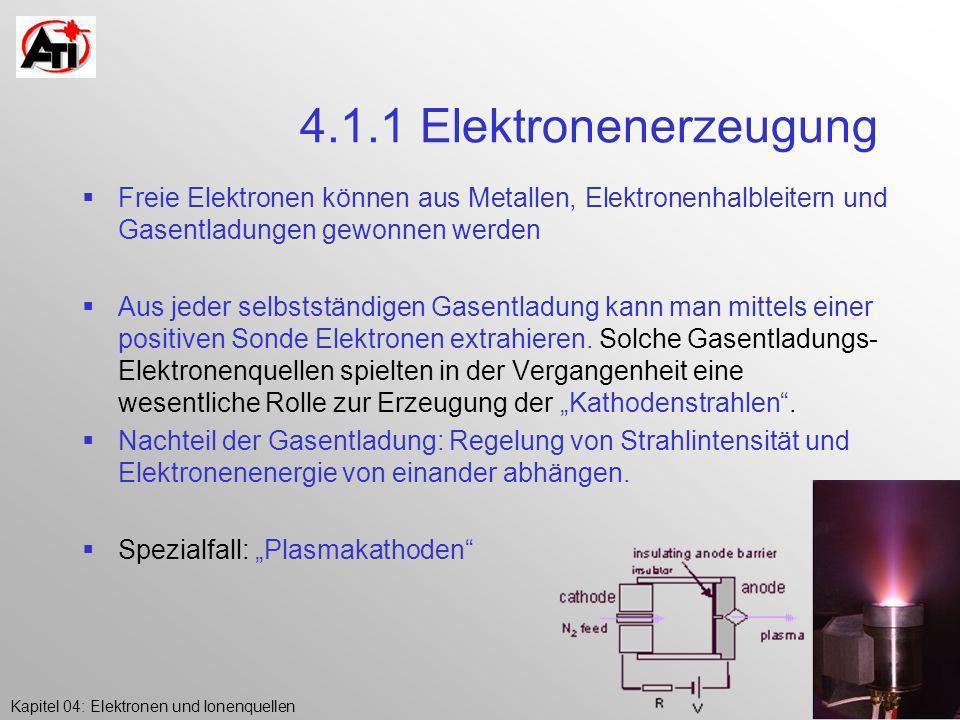 4.1.1 Elektronenerzeugung Freie Elektronen können aus Metallen, Elektronenhalbleitern und Gasentladungen gewonnen werden.