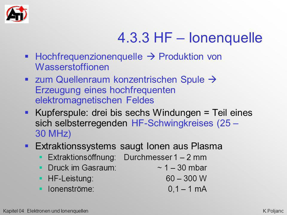 4.3.3 HF – Ionenquelle Hochfrequenzionenquelle  Produktion von Wasserstoffionen.