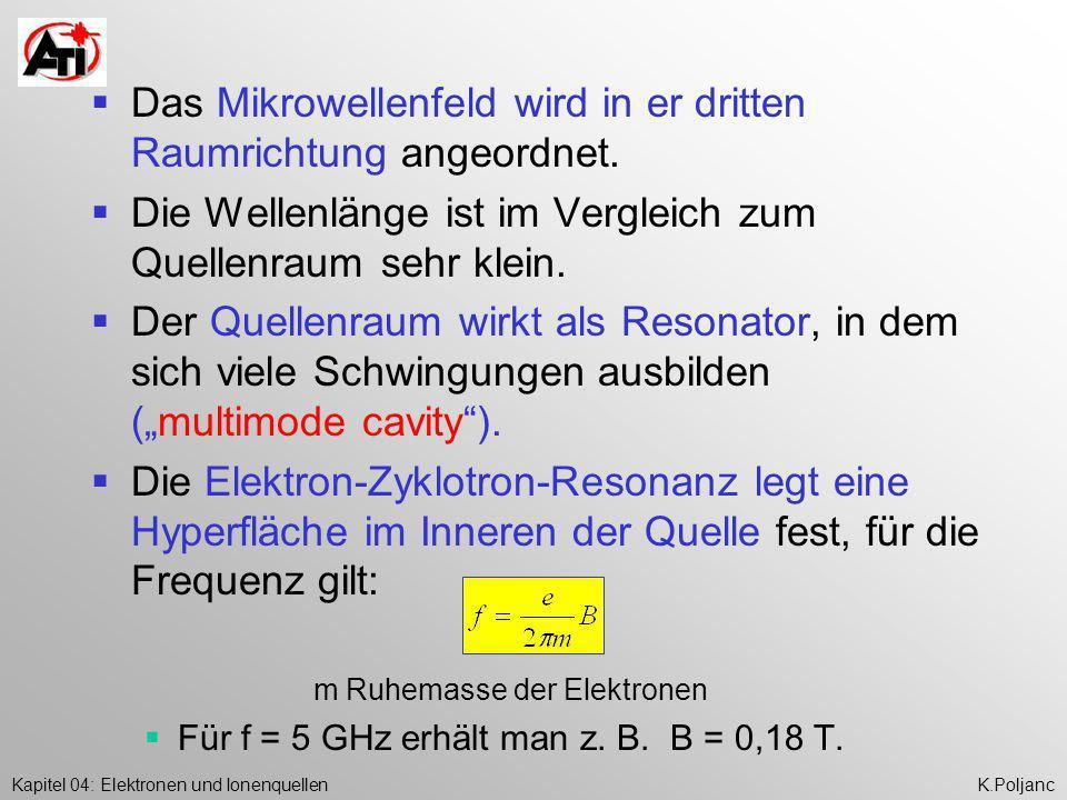 Das Mikrowellenfeld wird in er dritten Raumrichtung angeordnet.