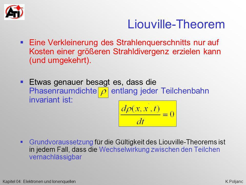 Liouville-Theorem Eine Verkleinerung des Strahlenquerschnitts nur auf Kosten einer größeren Strahldivergenz erzielen kann (und umgekehrt).
