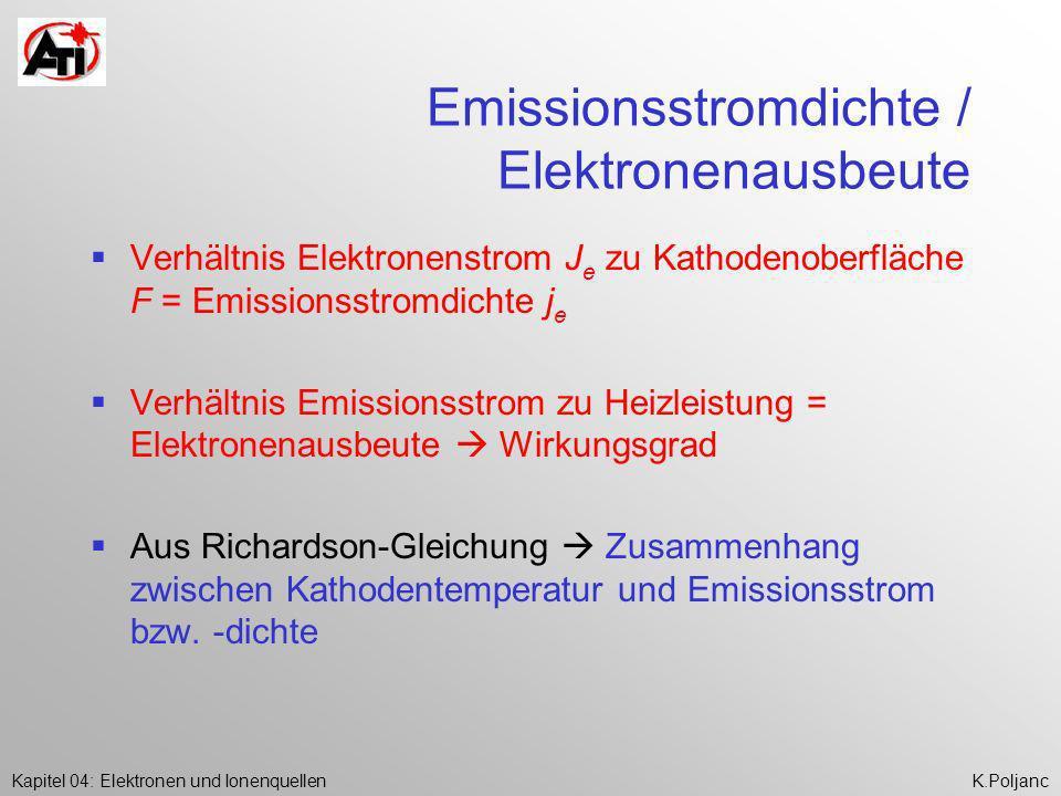 Emissionsstromdichte / Elektronenausbeute