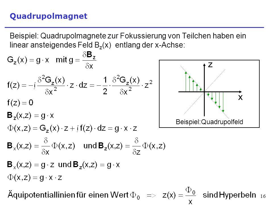 Quadrupolmagnet Beispiel: Quadrupolmagnete zur Fokussierung von Teilchen haben ein linear ansteigendes Feld Bz(x) entlang der x-Achse: