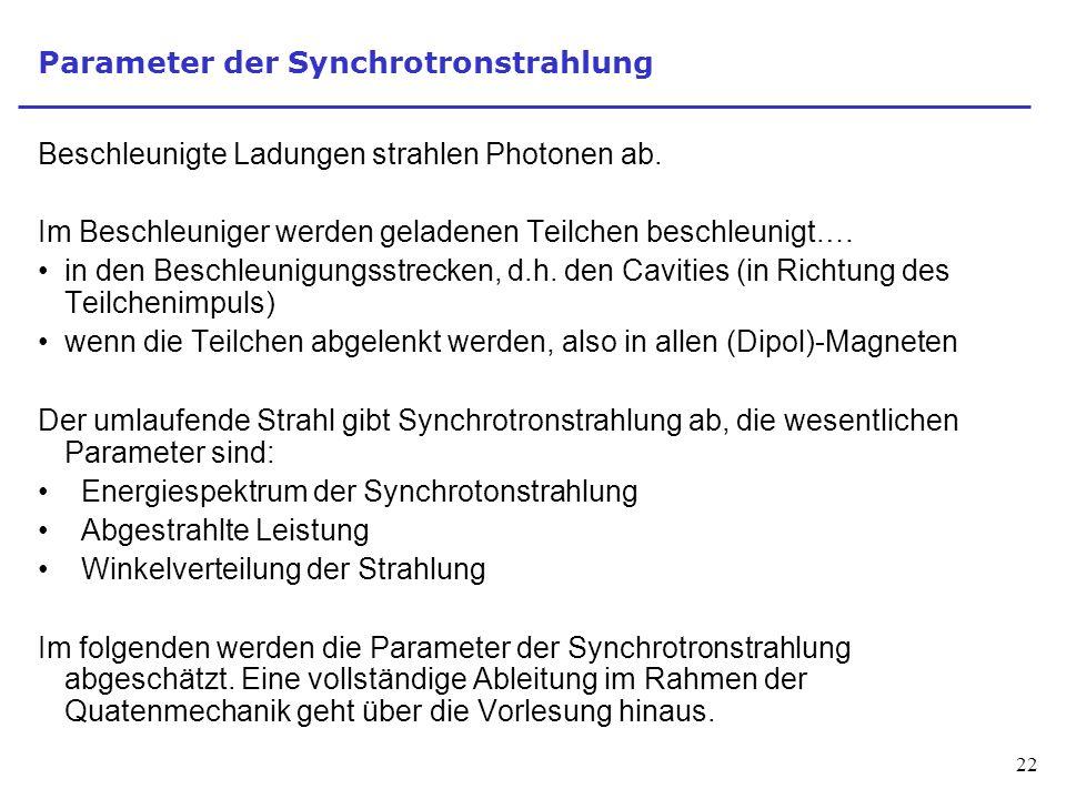Parameter der Synchrotronstrahlung