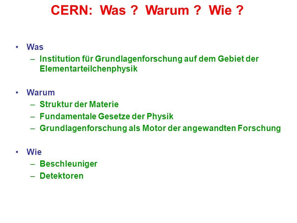 CERN: Was Warum Wie Was. Institution für Grundlagenforschung auf dem Gebiet der Elementarteilchenphysik.