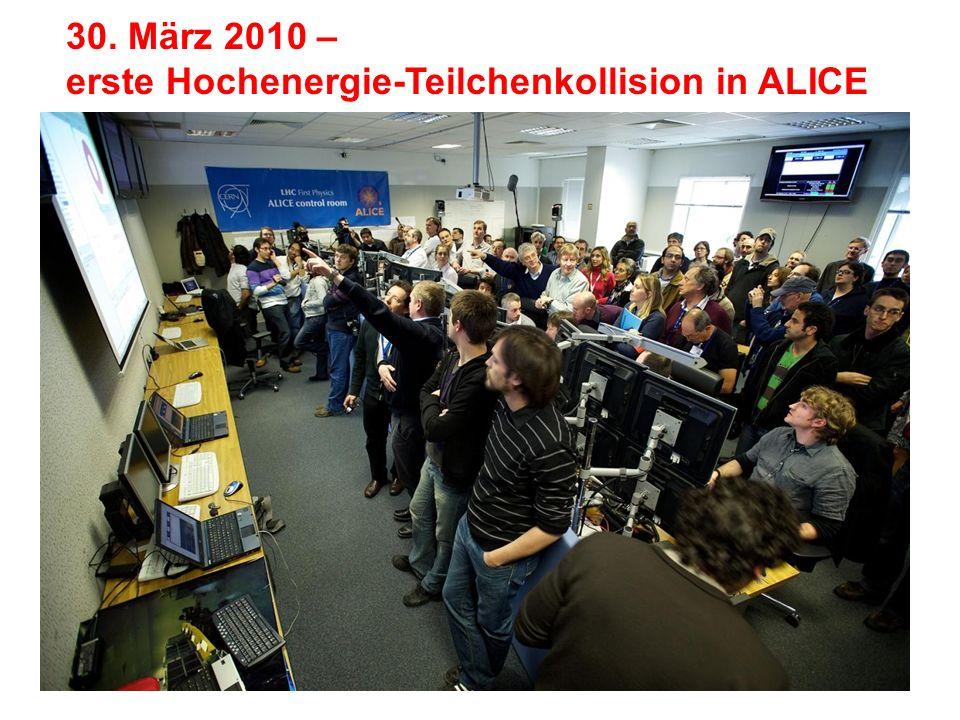 30. März 2010 – erste Hochenergie-Teilchenkollision in ALICE
