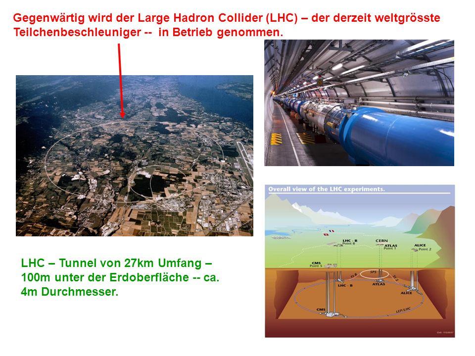 Gegenwärtig wird der Large Hadron Collider (LHC) – der derzeit weltgrösste Teilchenbeschleuniger -- in Betrieb genommen.