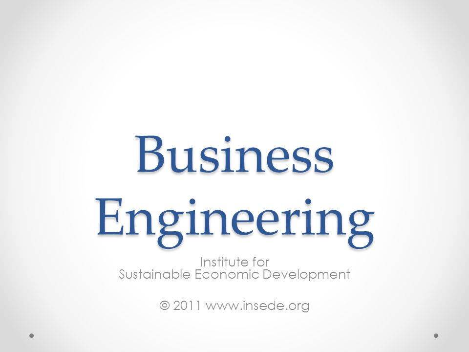 Institute for Sustainable Economic Development © 2011 www.insede.org