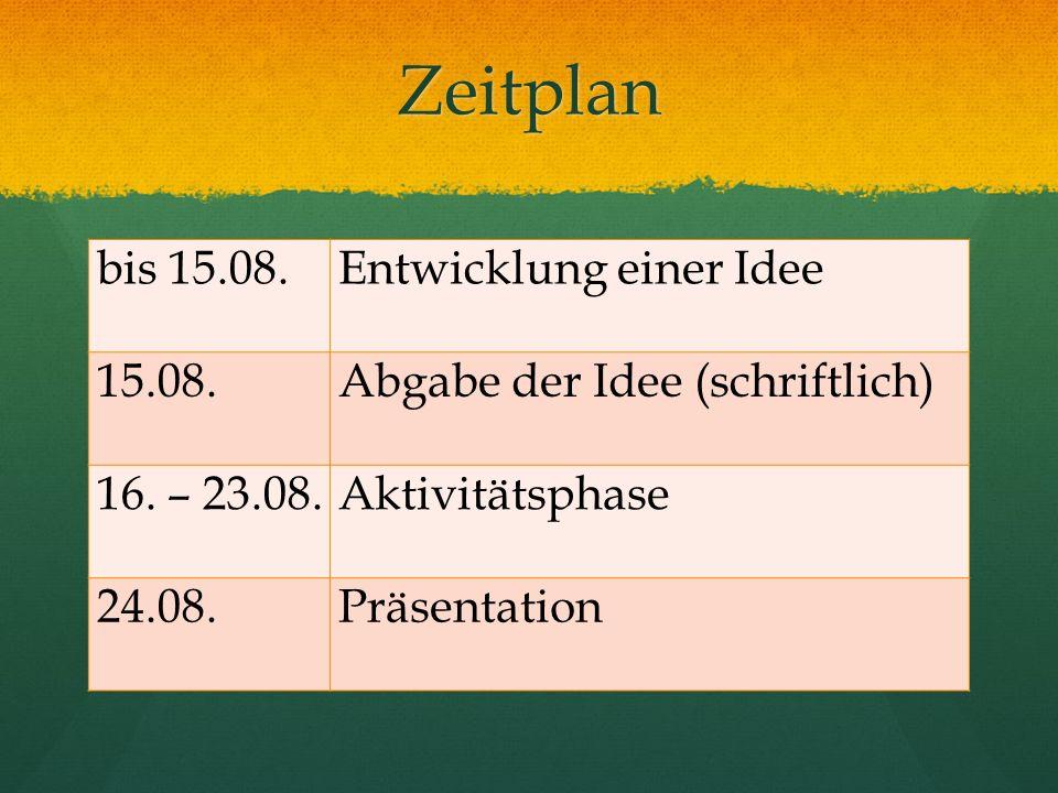 Zeitplan bis 15.08. Entwicklung einer Idee 15.08.