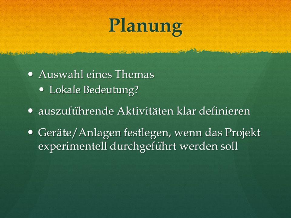 Planung Auswahl eines Themas