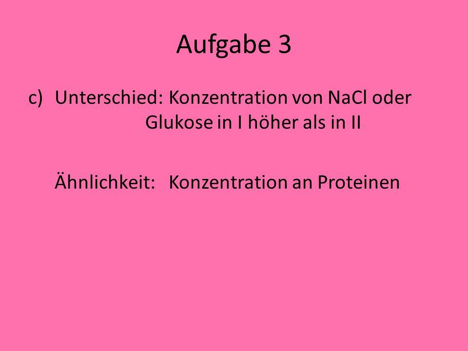 Aufgabe 3 Unterschied: Konzentration von NaCl oder Glukose in I höher als in II.