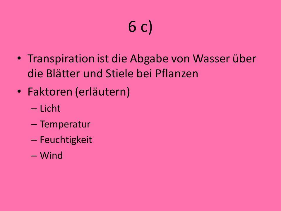 6 c) Transpiration ist die Abgabe von Wasser über die Blätter und Stiele bei Pflanzen. Faktoren (erläutern)