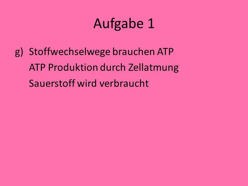 Aufgabe 1 Stoffwechselwege brauchen ATP