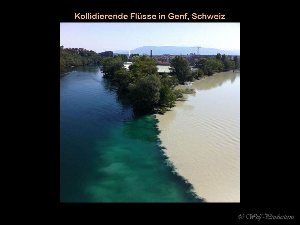 Kollidierende Flüsse in Genf, Schweiz