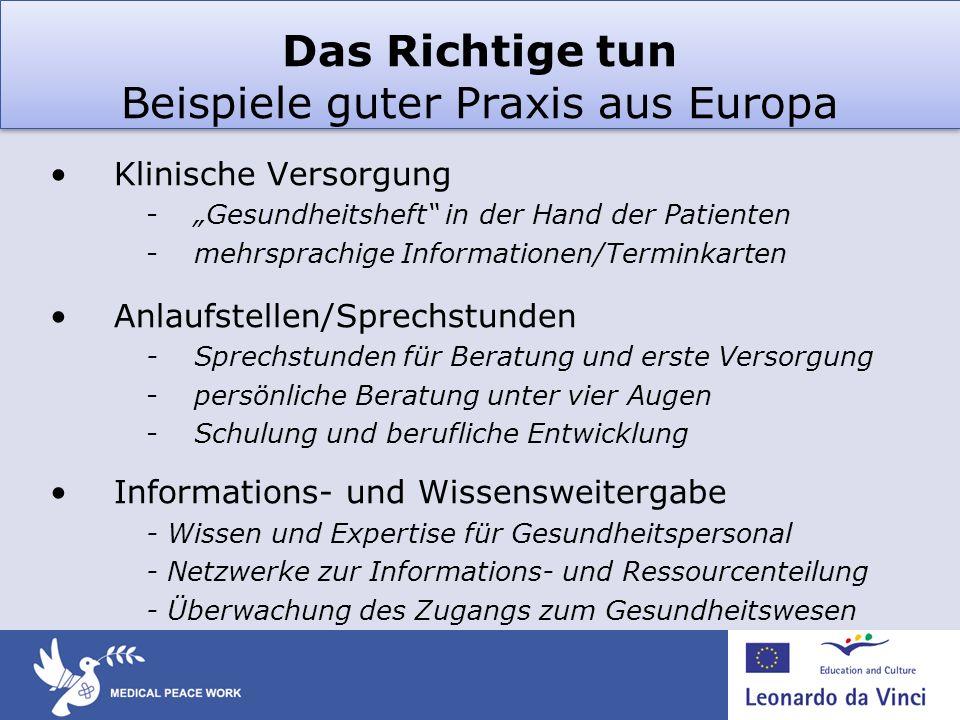 Das Richtige tun Beispiele guter Praxis aus Europa