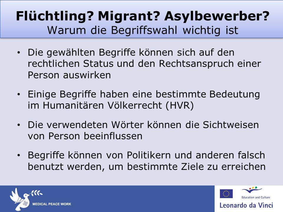Flüchtling Migrant Asylbewerber Warum die Begriffswahl wichtig ist