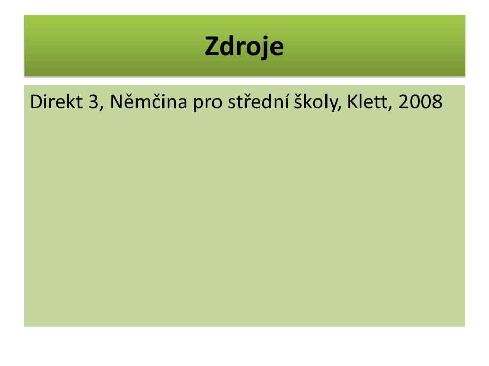 Zdroje Direkt 3, Němčina pro střední školy, Klett, 2008