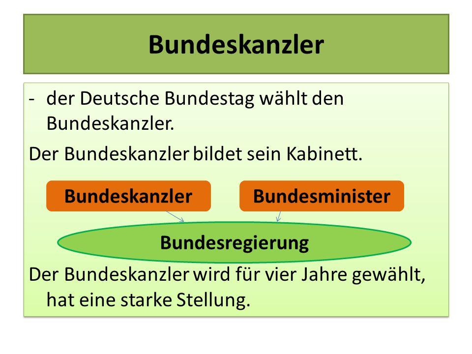 Bundeskanzler der Deutsche Bundestag wählt den Bundeskanzler.