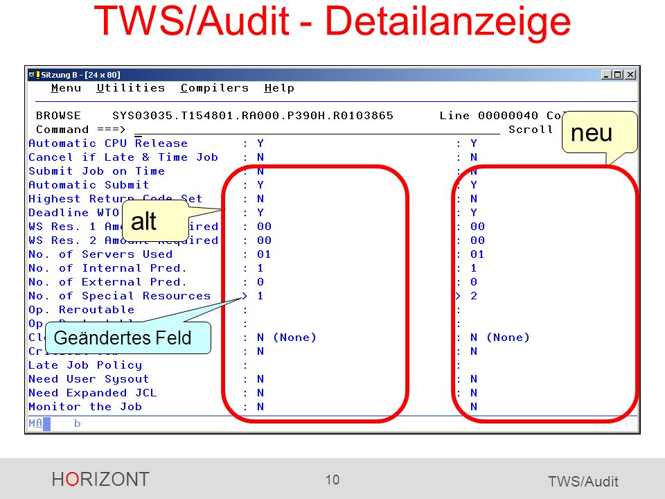 TWS/Audit - Detailanzeige