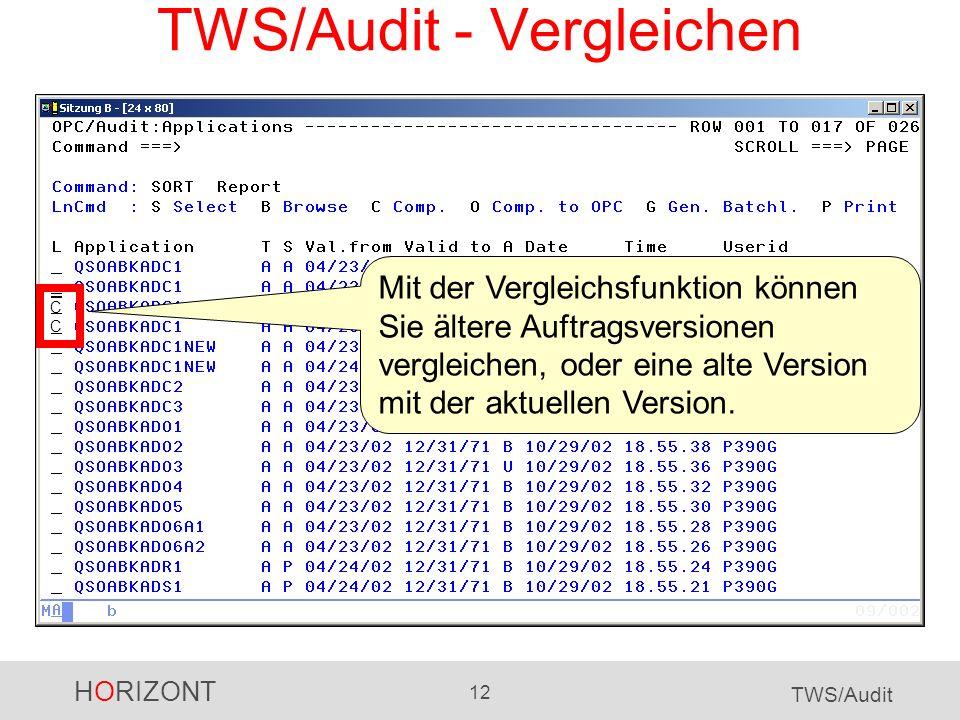 TWS/Audit - Vergleichen