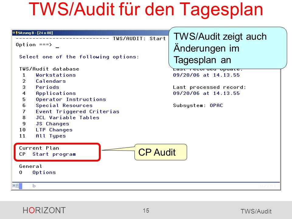 TWS/Audit für den Tagesplan