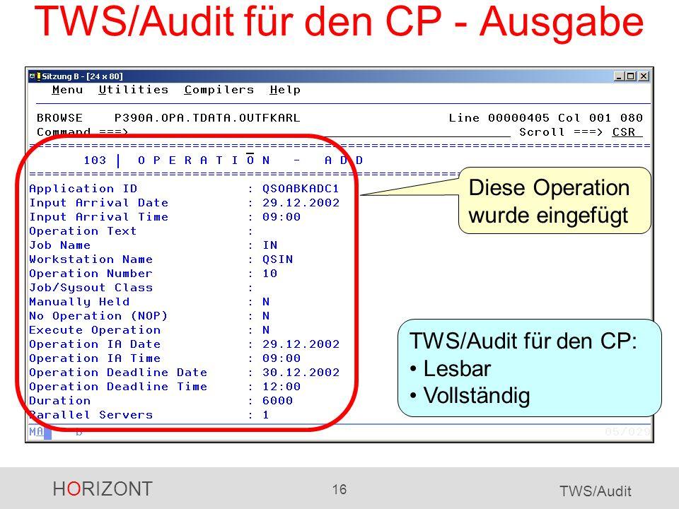 TWS/Audit für den CP - Ausgabe