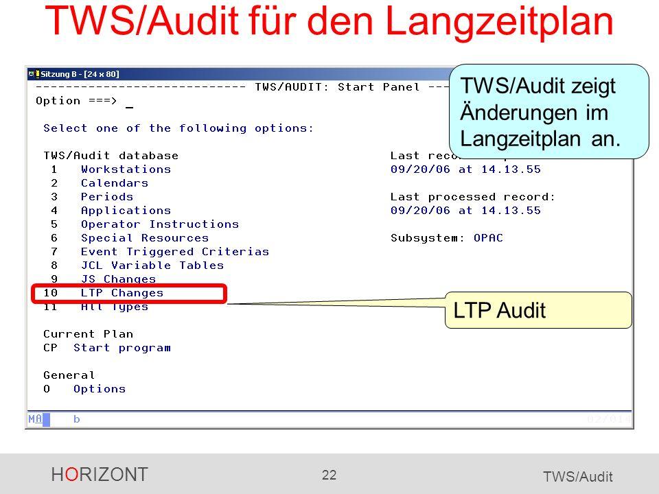 TWS/Audit für den Langzeitplan