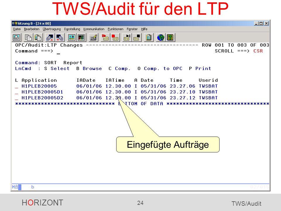 TWS/Audit für den LTP Eingefügte Aufträge