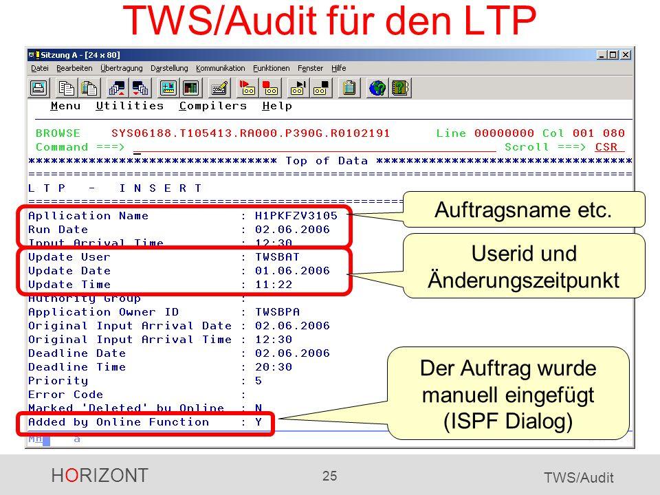 TWS/Audit für den LTP Auftragsname etc. Userid und Änderungszeitpunkt