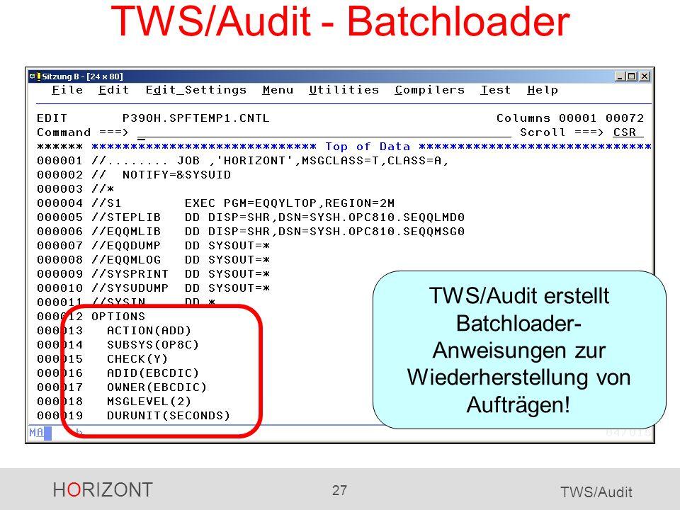 TWS/Audit - Batchloader