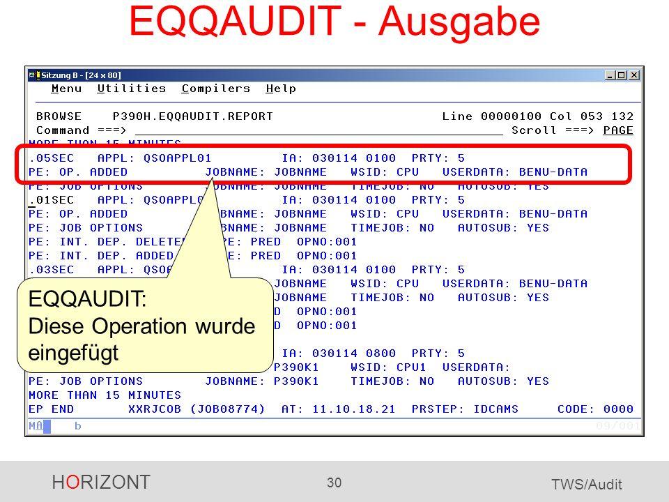 EQQAUDIT - Ausgabe EQQAUDIT: Diese Operation wurde eingefügt
