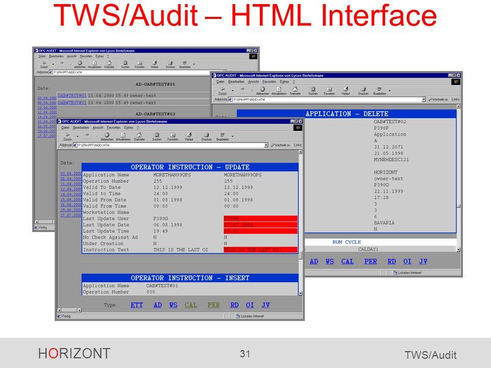 TWS/Audit – HTML Interface
