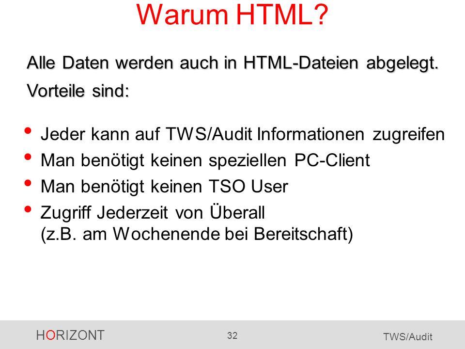 Warum HTML Alle Daten werden auch in HTML-Dateien abgelegt. Vorteile sind: Jeder kann auf TWS/Audit Informationen zugreifen.