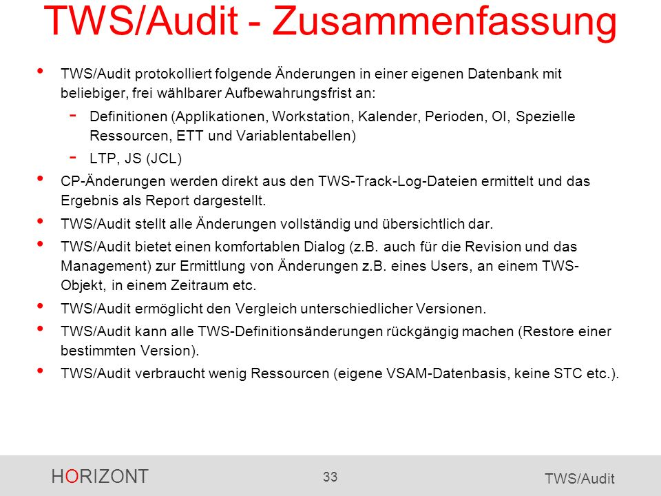 TWS/Audit - Zusammenfassung