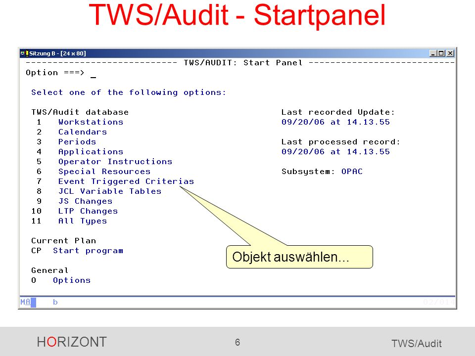 TWS/Audit - Startpanel