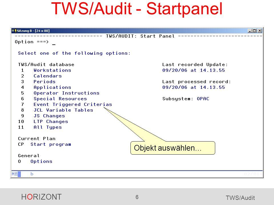 TWS/Audit - Startpanel
