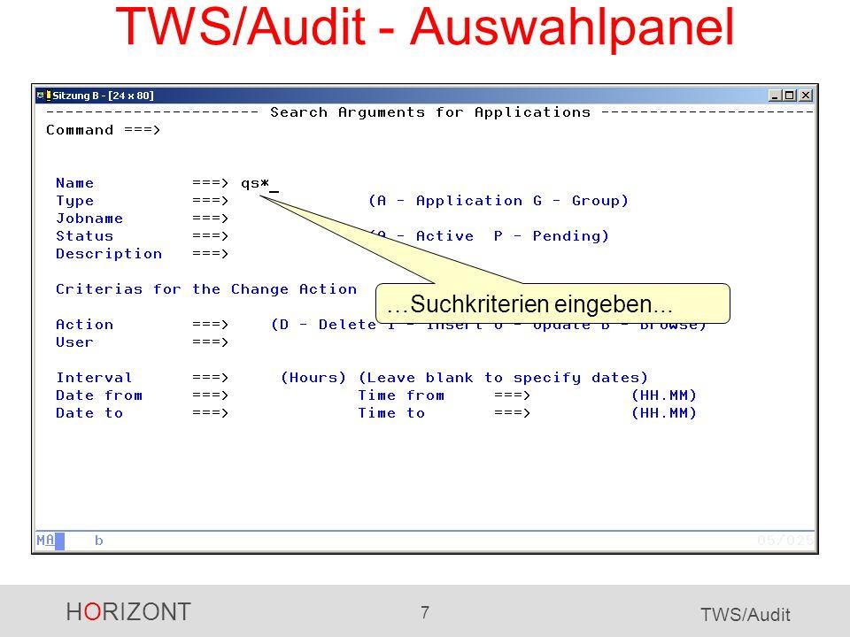 TWS/Audit - Auswahlpanel