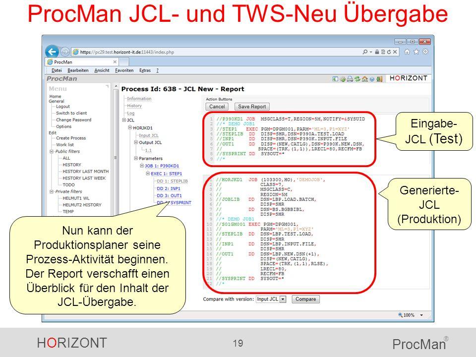 ProcMan JCL- und TWS-Neu Übergabe