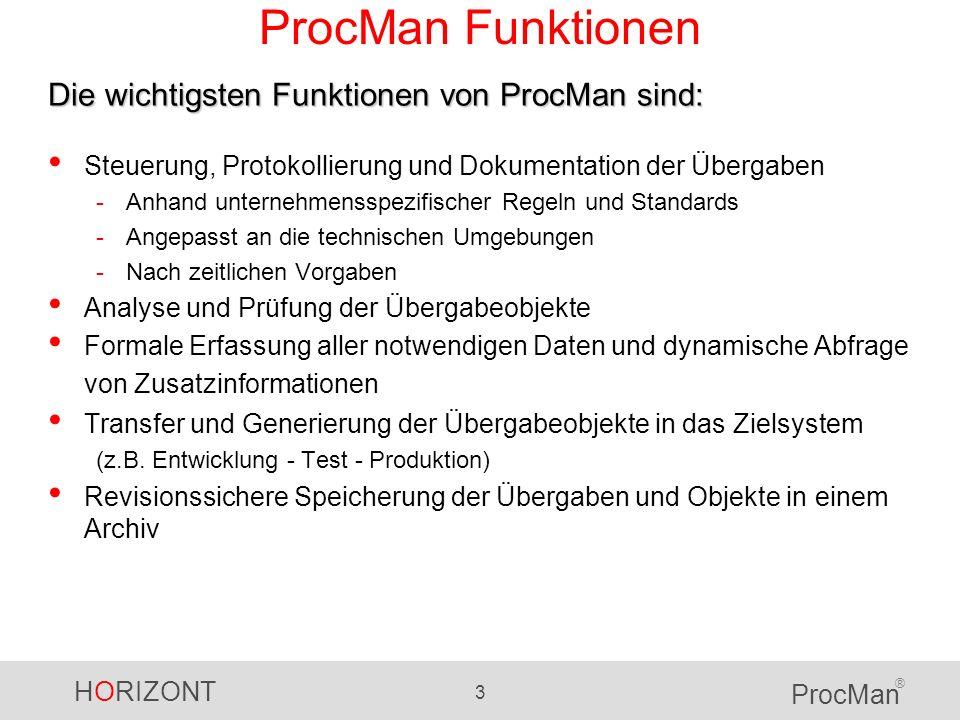 ProcMan Funktionen Die wichtigsten Funktionen von ProcMan sind: