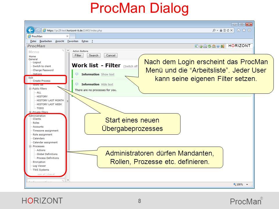 ProcMan Dialog Nach dem Login erscheint das ProcMan Menü und die Arbeitsliste . Jeder User kann seine eigenen Filter setzen.