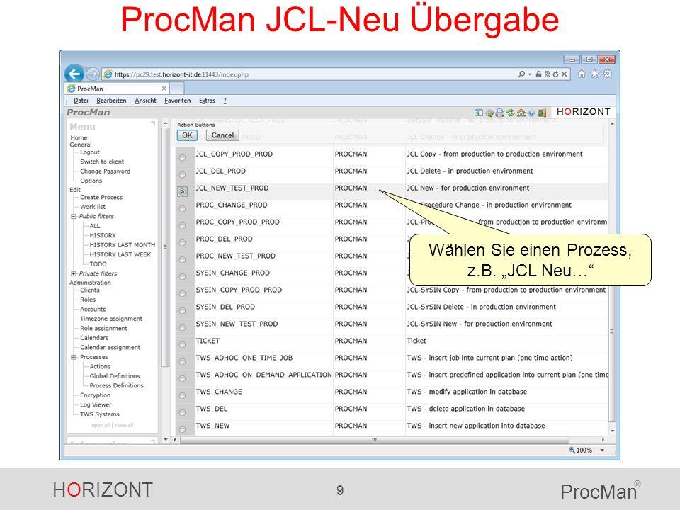 ProcMan JCL-Neu Übergabe