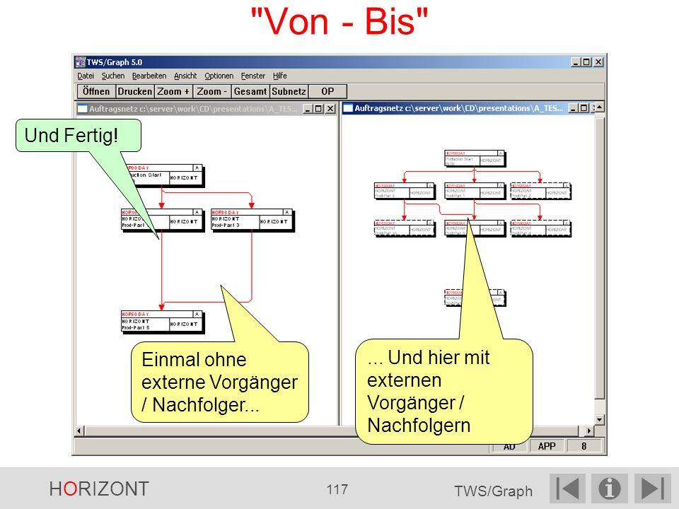 Von - Bis Und Fertig! Einmal ohne externe Vorgänger / Nachfolger... ... Und hier mit externen Vorgänger / Nachfolgern.