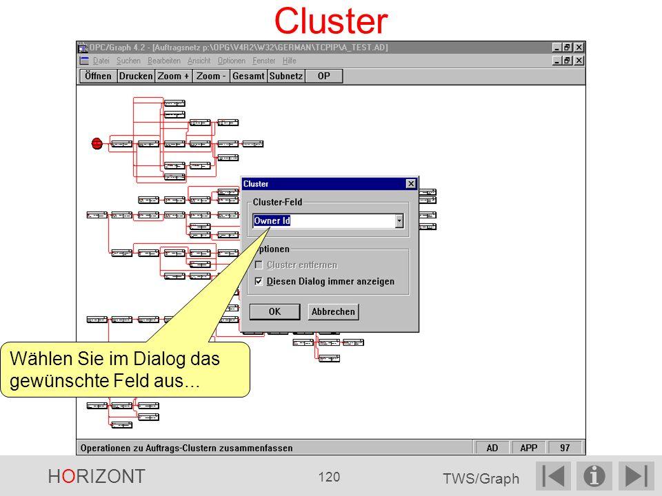 Cluster Wählen Sie im Dialog das gewünschte Feld aus... HORIZONT