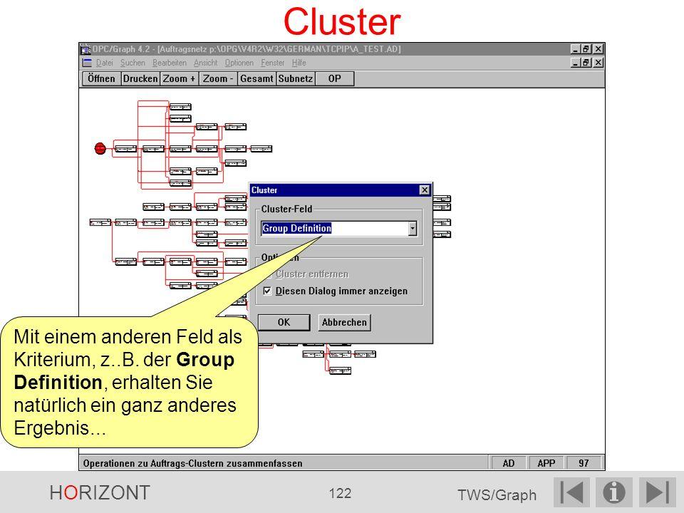 Cluster Mit einem anderen Feld als Kriterium, z..B. der Group Definition, erhalten Sie natürlich ein ganz anderes Ergebnis...