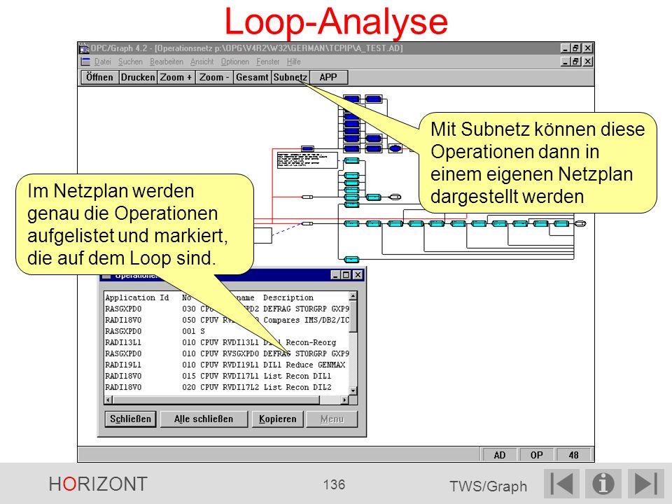 Loop-Analyse Mit Subnetz können diese Operationen dann in einem eigenen Netzplan dargestellt werden.