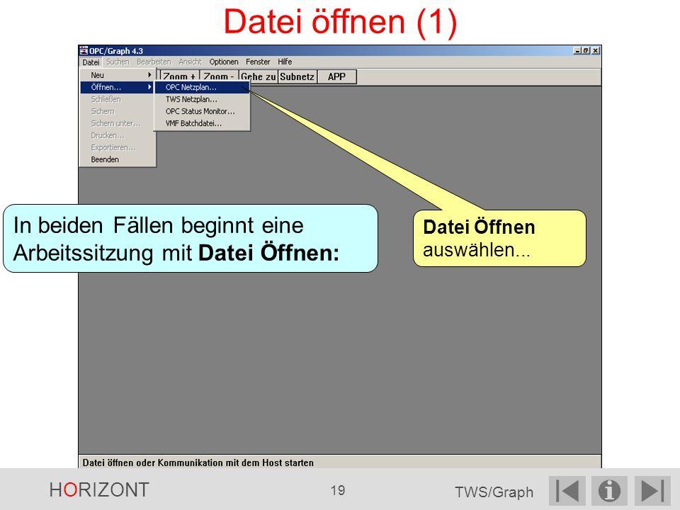 Datei öffnen (1) In beiden Fällen beginnt eine Arbeitssitzung mit Datei Öffnen: Datei Öffnen auswählen...