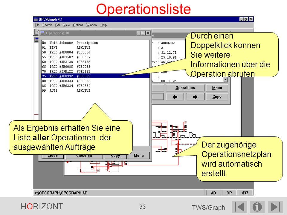 Operationsliste Durch einen Doppelklick können Sie weitere Informationen über die Operation abrufen.